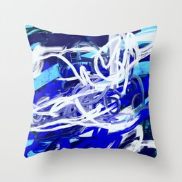 Blue & White Abstract Throw Pillow