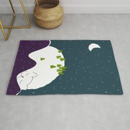 Cozy Christmas  Mountain Landscape Sleeping Cat Rug