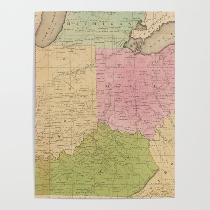 1830 Us Map.Vintage Map Of The Midwestern Us 1830 Poster By Bravuramedia