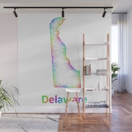 Rainbow Delaware map Wall Mural