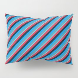 Blue Red Inclined Stripes Pillow Sham