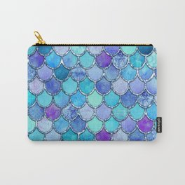 Colorful Blues Mermaid Scales Carry-All Pouch