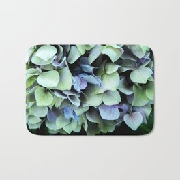 green and blue hydrangea Bath Mat