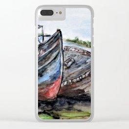 Wrecked River Boats Clear iPhone Case