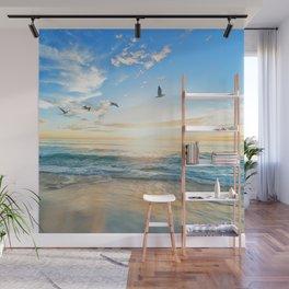 Blue Sky with Birds Wall Mural