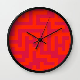 Scarlet Red and Crimson Red Labyrinth Wall Clock