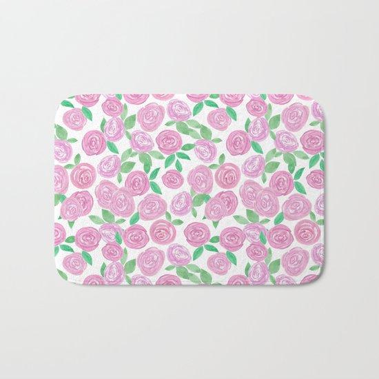 Pale pink roses . Watercolor . Bath Mat