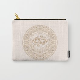 Pisces Zodiac Mandala - Gold on Cream Carry-All Pouch