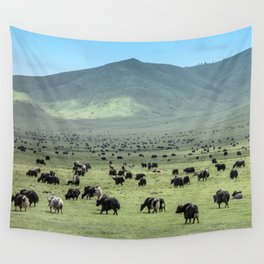 Tibetan Yaks in Sichuan, China Wall Tapestry