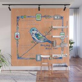Sparrow Mahjong in Orange Wall Mural