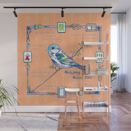 Sparrow Mahjong in Orange Wall Mural