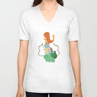 pocket V-neck T-shirts featuring Pocket Monsters by Jarvis Glasses
