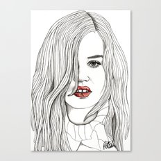 Georgia with Red Lips Canvas Print