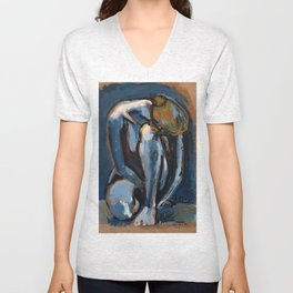 Nude woman sitting on floor, 2014 Unisex V-Neck