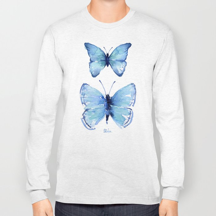 Two Blue Butterflies Watercolor Animals Insects Long Sleeve T-shirt
