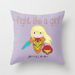 Fight Like a Girl - Samus Aran Throw Pillow