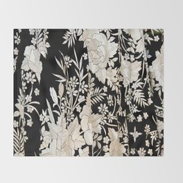Black and White Flowers by Lika Ramati Throw Blanket