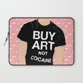 Buy Art, Not Cocaine - Dude with Blue Hair Typography Digital Drawing Laptop Sleeve