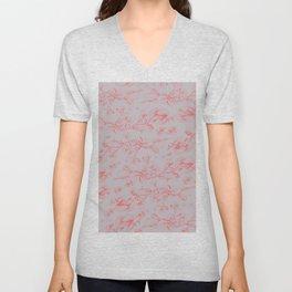 Red & Grey pohutukawa pattern Unisex V-Neck