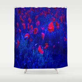 Red in Blue Shower Curtain