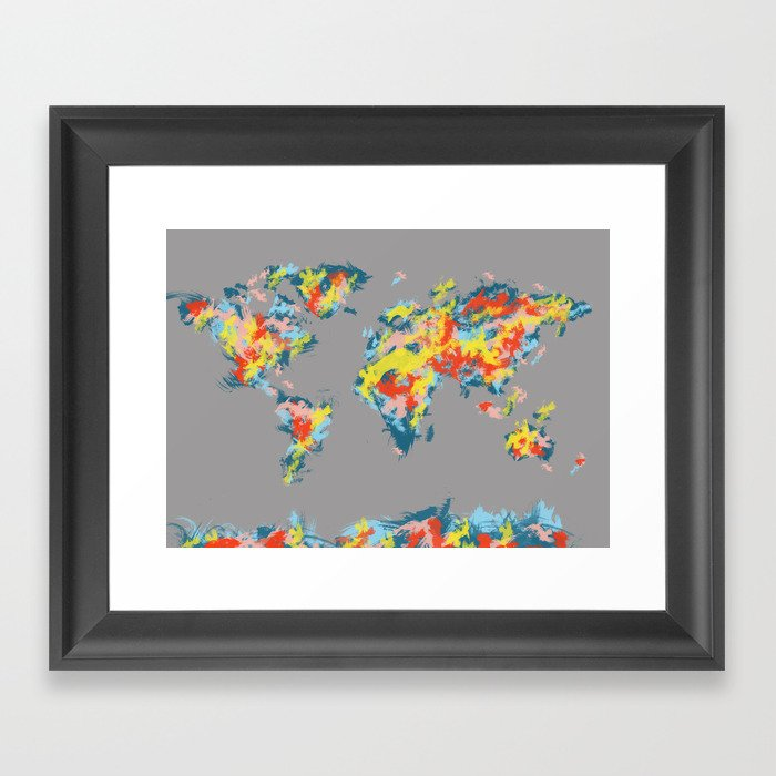 World map framed art print by bekimart society6 for World map wall print