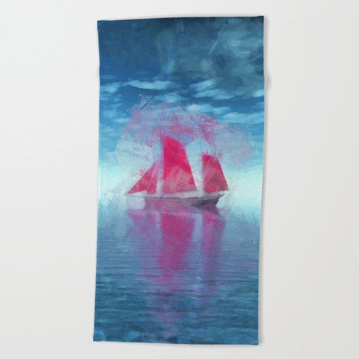 Red sailboat Beach Towel