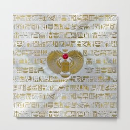 Egyptian Scarab Beetle Gold and Ruby Stone Metal Print