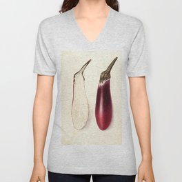 Vintage Painting of an Eggplant Unisex V-Neck