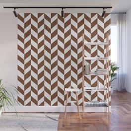 Herringbone Texture (Brown & White) Wall Mural