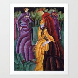 The Jesuit Walking in the Gardens III, portrait art deco painting by Lyonel Feininger Art Print