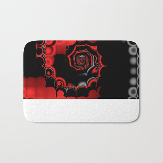 TGS Fractal Abstract in Red and Black Bath Mat