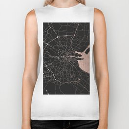 Black on Rosegold Dublin Street Map Biker Tank
