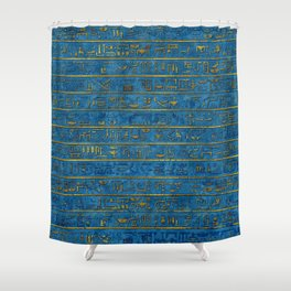 Golden Embossed Egyptian hieroglyphs on blue Shower Curtain