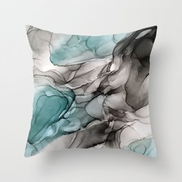 Smoky Grays and Green Abstract Flow Throw Pillow