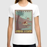 travel poster T-shirts featuring Ember Island Travel Poster by HenryConradTaylor