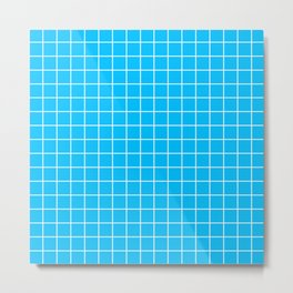 Deep sky blue - turquoise color - White Lines Grid Pattern Metal Print