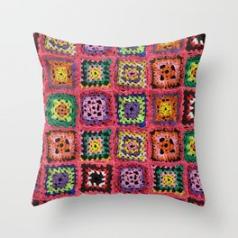 Granny Squares in variety of colors Throw Pillow