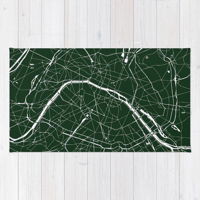 paris france minimal street map forest green rug