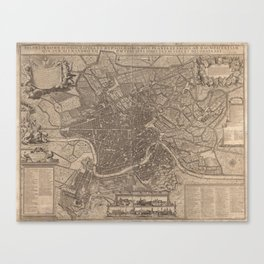 Vintage Map of Rome Italy (1730) Canvas Print