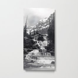 A stepped waterfall with Mount Temple and Mount Hungabee behind, Paradise Valley Metal Print