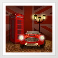 british Art Prints featuring British RED by Monika Juengling