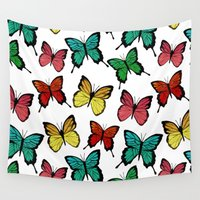 butterflies Wall Tapestries featuring Butterflies by Julia Badeeva