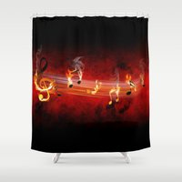 music notes Shower Curtains featuring Hot Music Notes by FantasyArtDesigns