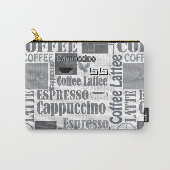 """Black and white pattern. """"Favourite coffee """" Carry-All Pouch"""
