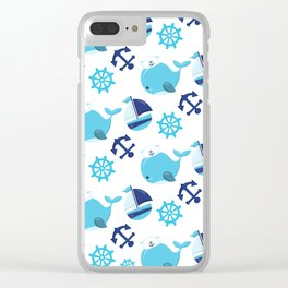 Whale Pattern, Sailor Whales, Sailor Boats - Blue Clear iPhone Case
