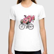 floral bicycle  LARGE White Womens Fitted Tee