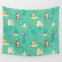 mermaids Wall Tapestries featuring Mermaids by lindsey salles