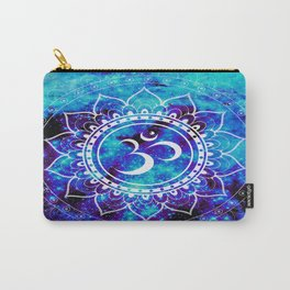 Om Mandala : Bright Violet & Teal Carry-All Pouch