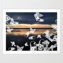 Beach noir Art Print