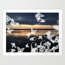 Beach noir Art Print